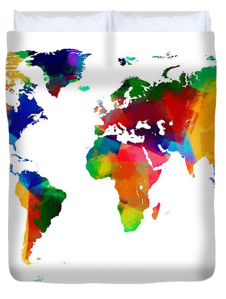 Map Of The World Map Painting Duvet Cover
