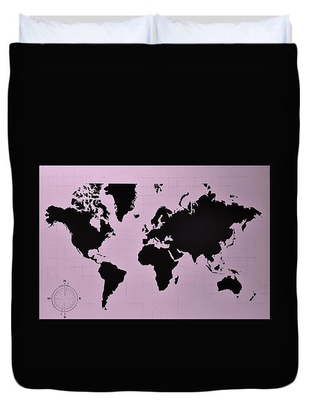 Duvet Cover featuring the photograph Map Of The World Pink by Rob Hans