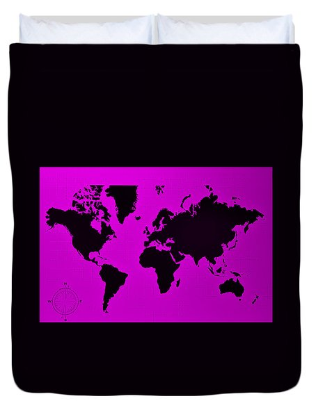 Duvet Cover featuring the photograph Map Of The World Purple by Rob Hans