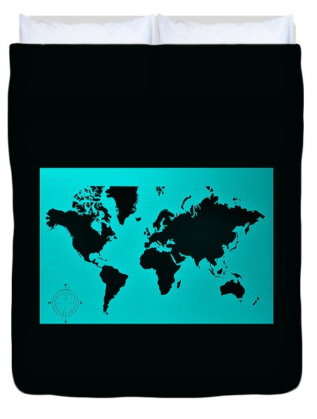 Duvet Cover featuring the photograph Map Of The World Turquoise by Rob Hans