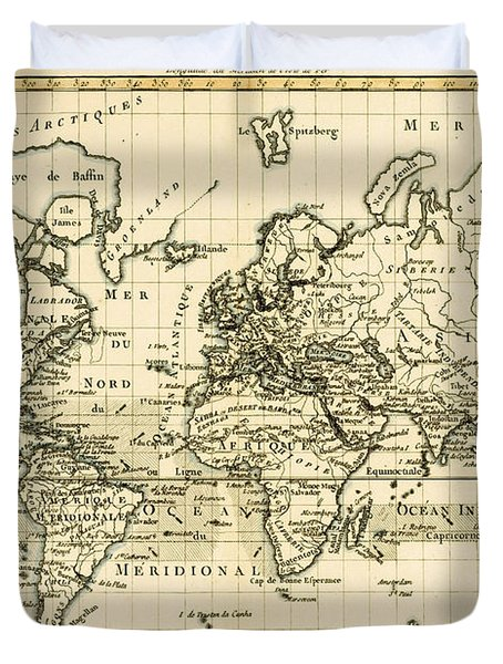 Map Of The World Using The Mercator Projection Duvet Cover by Guillaume Raynal