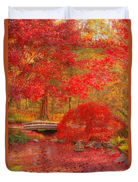 Duvet Cover featuring the photograph Maple Bridge by Geraldine DeBoer