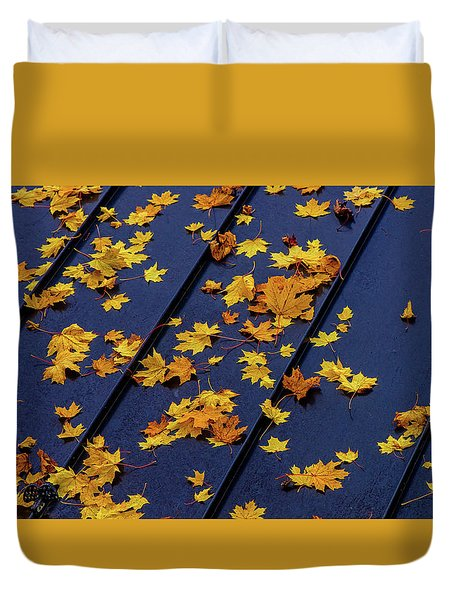Maple Leaves On A Metal Roof Duvet Cover