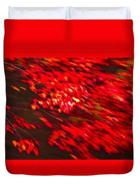 Maple Red Abstract Duvet Cover