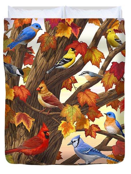 Maple Tree Marvel - Bird Painting Duvet Cover