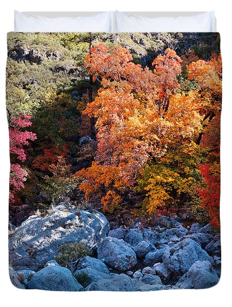Maples And Boulders In A Play Of Lights And Shadows - Mckittrick Canyon Guadalupe Mountains Duvet Cover
