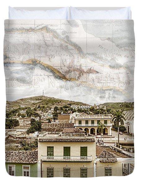 Mapping Trinidad Duvet Cover