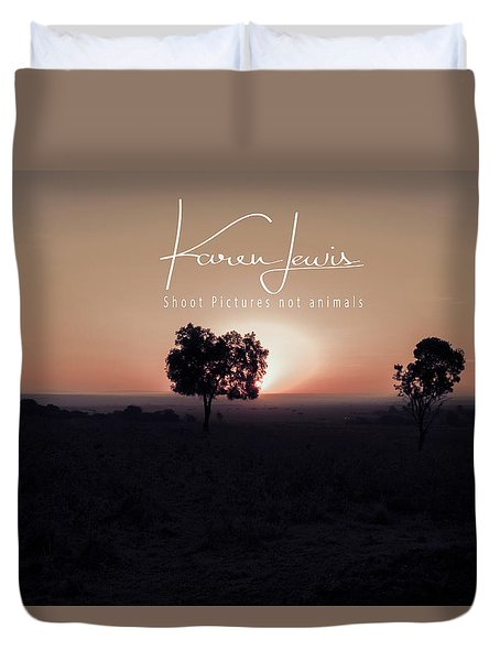 Duvet Cover featuring the photograph Mara Morning by Karen Lewis