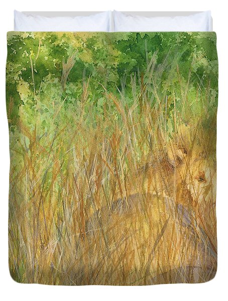 Duvet Cover featuring the painting Mara The Lioness by Vicki  Housel