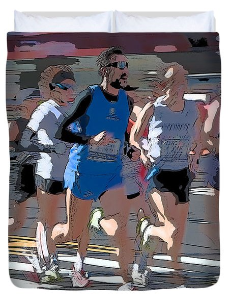 Marathon Runners I Duvet Cover by Clarence Holmes