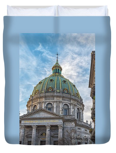 Duvet Cover featuring the photograph Marble Church In Copenhagen by Antony McAulay