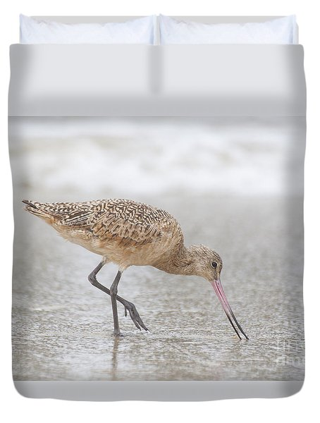 Duvet Cover featuring the photograph Marbled Godwit In The Ocean by Ruth Jolly