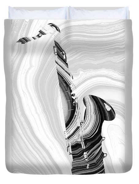 Marbled Music Art - Saxophone - Sharon Cummings Duvet Cover