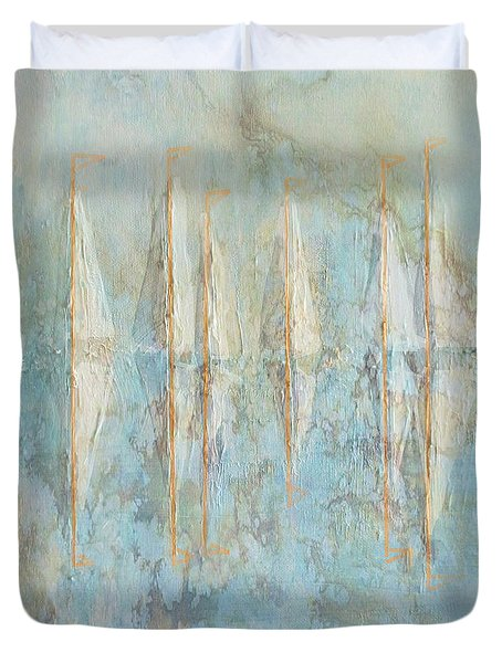 Duvet Cover featuring the painting Marbled Yachts by Valerie Anne Kelly