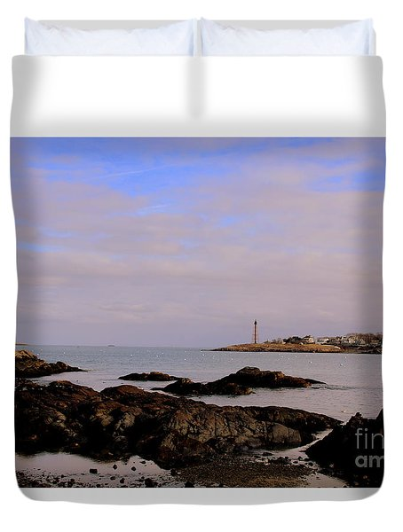 Marblehead Harbor And Light Duvet Cover