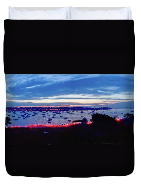 Duvet Cover featuring the photograph Marblehead Illumination In Panoramic by Jeff Folger