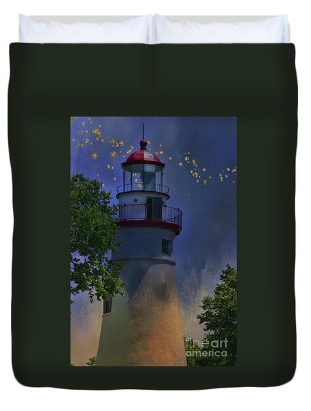 Duvet Cover featuring the photograph Marblehead In Starlight by Joan Bertucci