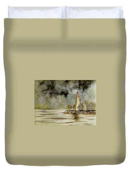 Marblehead Lighthouse In The Winter Duvet Cover by Michael Vigliotti
