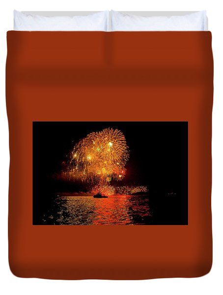 Duvet Cover featuring the photograph Marblehead Fireworks by Jeff Folger