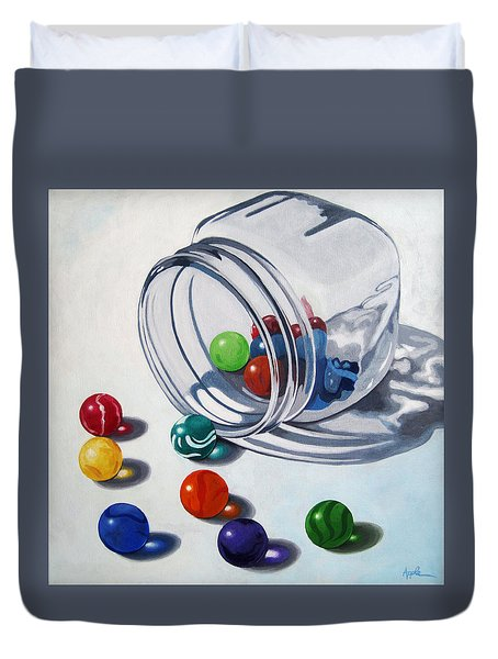 Marbles And Glass Jar Still Life Painting Duvet Cover