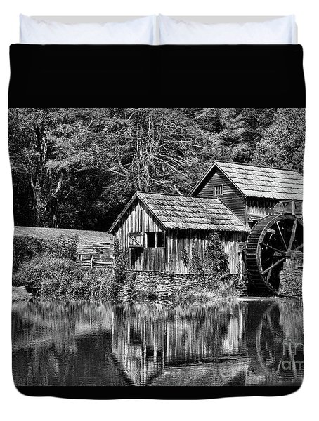 Marby Mill In Black And White Duvet Cover by Paul Ward