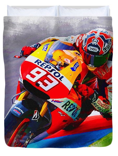 Marc Marquez Get Up Close Duvet Cover