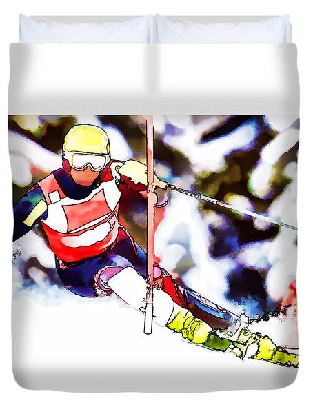 Marcel Hirscher Skiing Duvet Cover by Lanjee Chee