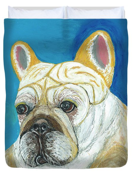 Duvet Cover featuring the painting Marcel II French Bulldog by Ania M Milo