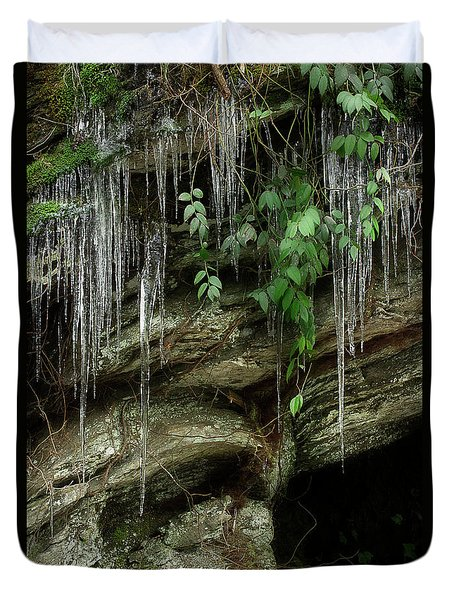 Duvet Cover featuring the photograph March Icicles 2 by Mike Eingle