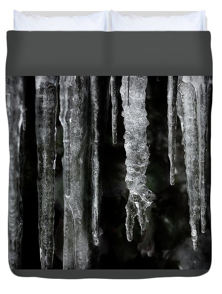 Duvet Cover featuring the photograph March Icicles by Mike Eingle