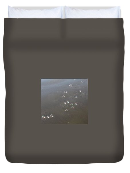 March Of The Bubbles Duvet Cover by Marie Neder