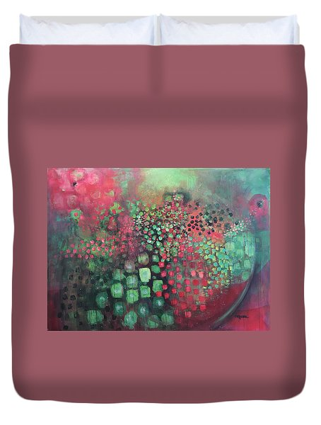 Duvet Cover featuring the painting March Of The Flamingos Stairway To Heaven by Laurie Maves ART