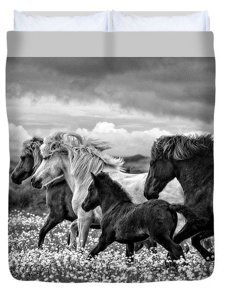 March Of The Mares Duvet Cover