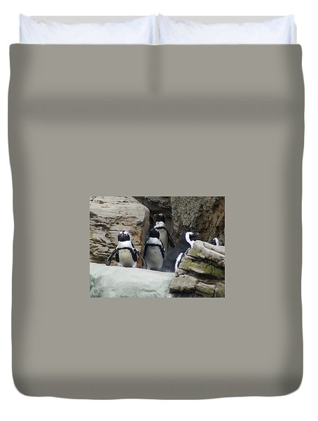 Duvet Cover featuring the photograph March Of The Penguins by B Wayne Mullins
