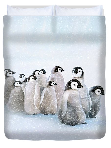 Duvet Cover featuring the digital art March Of The Penguins by Thanh Thuy Nguyen