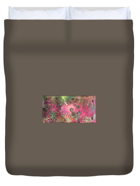 Duvet Cover featuring the painting March Of The Spoonbills by Laurie Maves ART