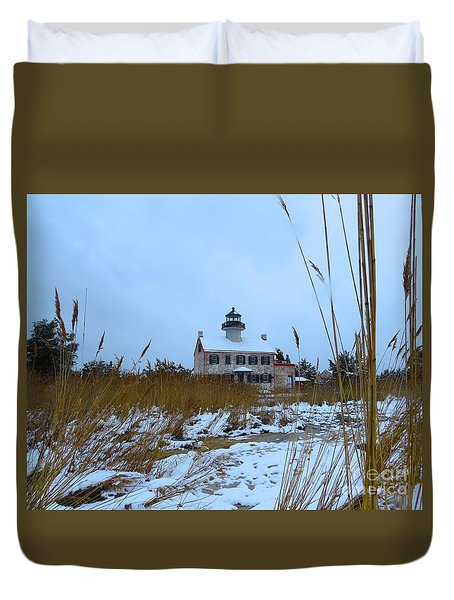 March Snow At East Point Lighthouse Duvet Cover by Nancy Patterson
