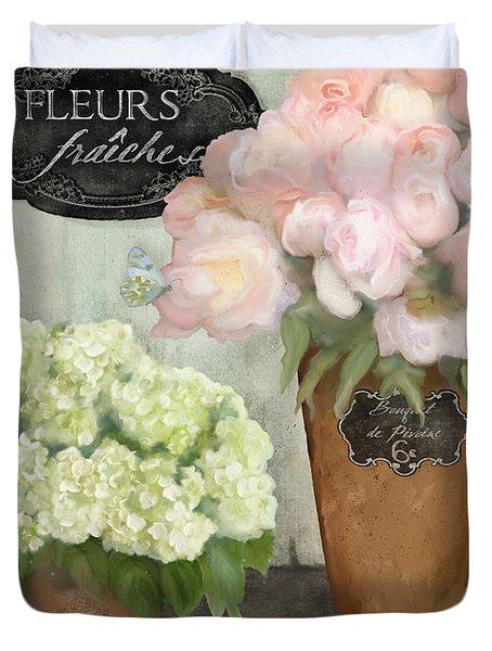 Marche Aux Fleurs 2 - Peonies N Hydrangeas Duvet Cover by Audrey Jeanne Roberts