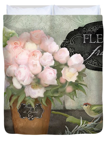 Marche Aux Fleurs 2 - Peonies N Hydrangeas W Bird Duvet Cover by Audrey Jeanne Roberts