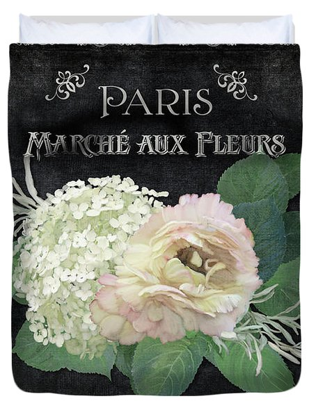 Duvet Cover featuring the painting Marche Aux Fleurs 4 Vintage Style Typography Art by Audrey Jeanne Roberts