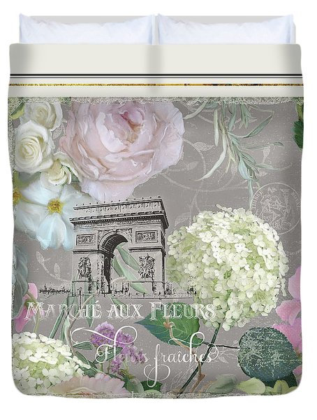 Duvet Cover featuring the painting Marche Aux Fleurs Vintage Paris Arc De Triomphe by Audrey Jeanne Roberts