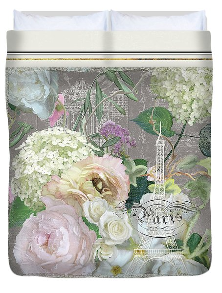 Duvet Cover featuring the painting Marche Aux Fleurs Vintage Paris Eiffel Tower by Audrey Jeanne Roberts