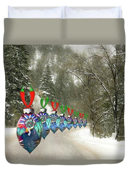 Marching Ornaments Chili Peppers Duvet Cover