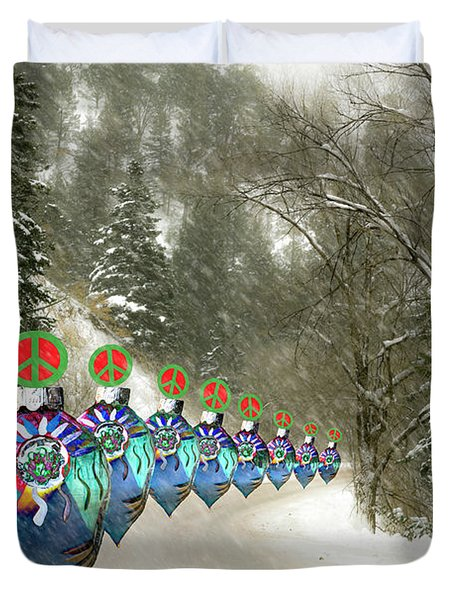 Marching Peace Ornaments Duvet Cover