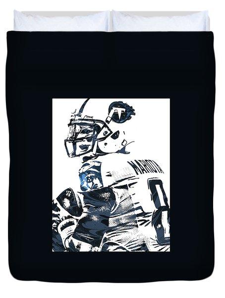 Duvet Cover featuring the mixed media Marcus Mariota Tennessee Titans Pixel Art by Joe Hamilton