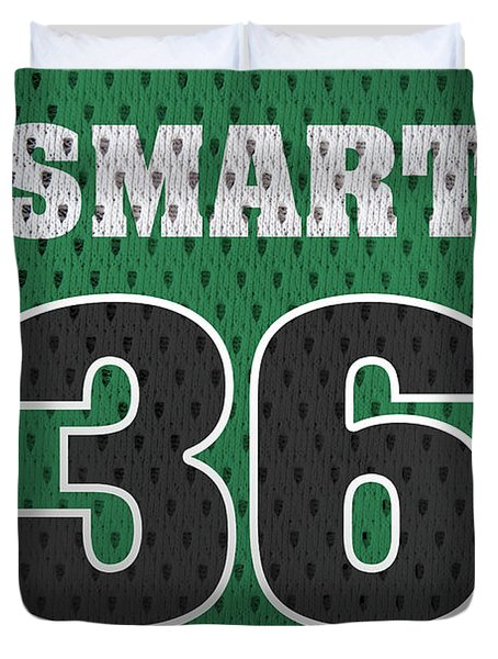 Marcus Smart Boston Celtics Number 36 Retro Vintage Jersey Closeup Graphic Design Duvet Cover