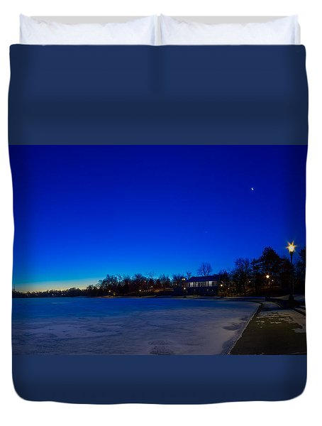 Marcy Casino Winter Twilight Duvet Cover