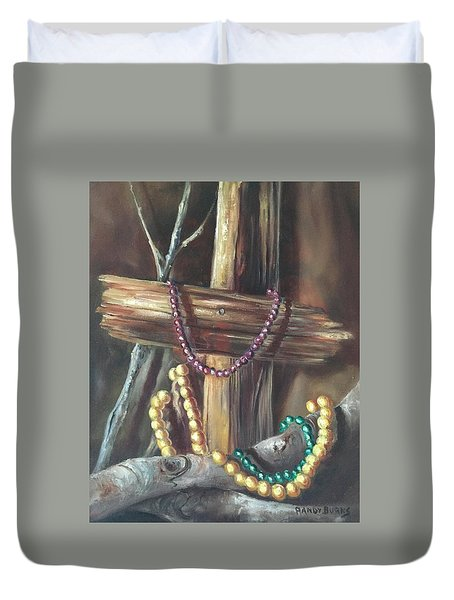 Duvet Cover featuring the painting Mardi Gras Beads And Hurricane Katrina by Randol Burns
