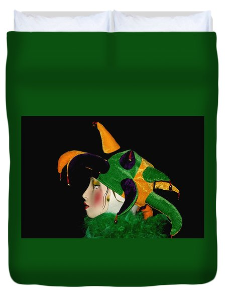 Duvet Cover featuring the photograph Mardi Gras Jester by Living Color Photography Lorraine Lynch