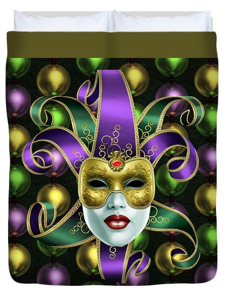 Mardi Gras Mask And Beads Duvet Cover